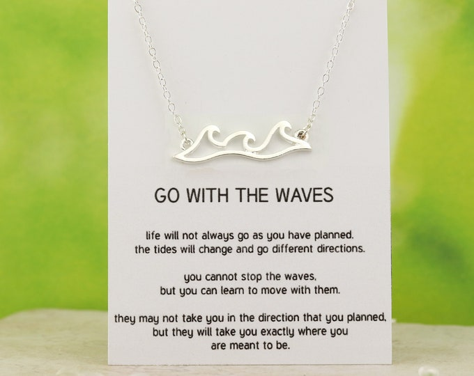 Wave Necklace - Wave jewelry - Wave Pendant - Silver Wave Necklace - Rose Gold Wave Necklace - Inspirational Jewelry