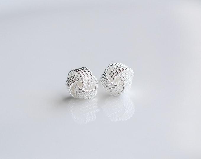 Tiny Knot Earrings - 6mm knot earrings - Sterling Silver earrings - Love knot earrings