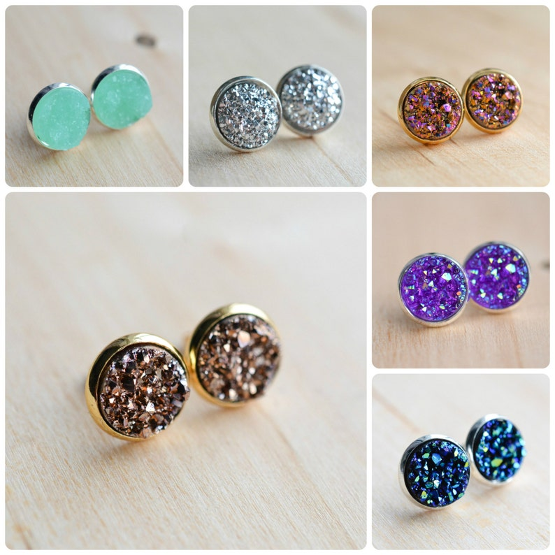 Fashion Style 14k Yellow Gold Jewelry Stud Post Earrings W/ Backings Purple Sparkle Stones Fashionable Patterns Gemstone