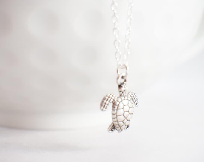Sea Turtle Necklace - Turtle necklace - turtle jewelry - nautical necklace - beach jewelry