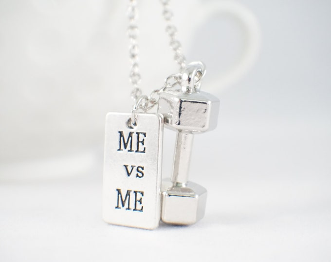 Me VS me stamped fitness jewelry with dumbbell! Inspirational fitness jewlery. Motivational jewelry.