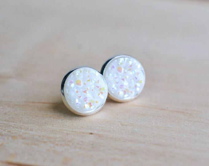 White Druzy Earrings - Snowflake Druzy Earrings - Opal Druzy Earrings - Post earrings - Pastel druzy earrings - Sparkle earrings  Post Druzy