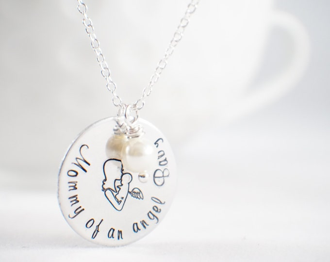 Mommy of an Angel Baby necklace - Angel baby - memorial necklace - miscarriage necklace - loss of baby  Miscarriage memorial - baby memorial