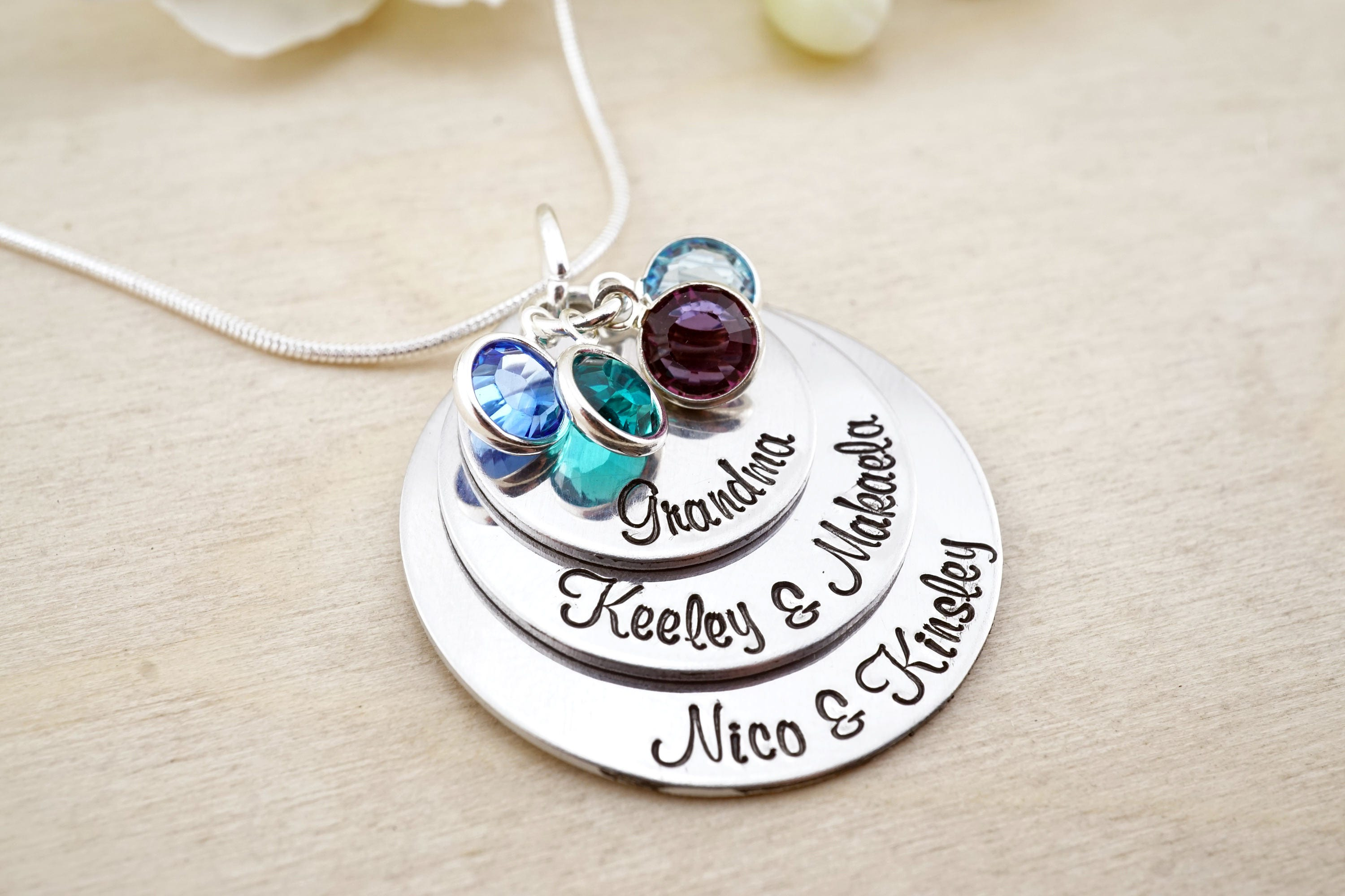 hand stamped grandmothers necklace grandmas necklace personalized