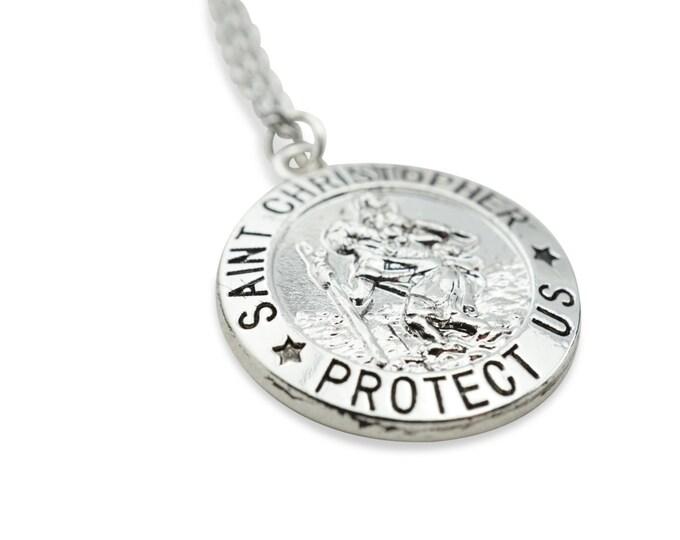 Saint Christopher Pendant - St. Christopher Pendant - St. Christopher Protect Us - Saint Christopher Medal - Protection pendant