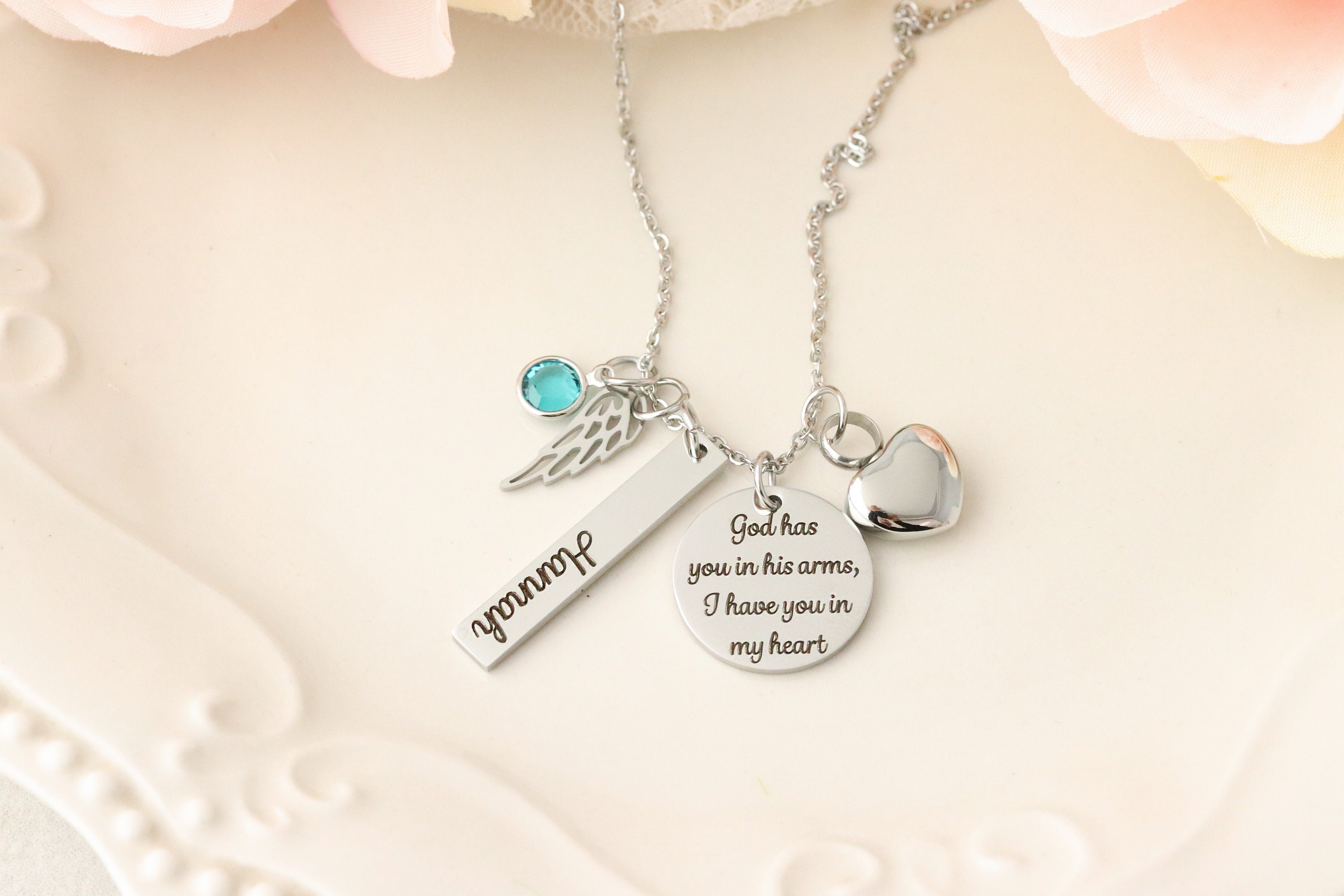 Cremation Memorial Necklace Memorial Urn Necklace Personalized