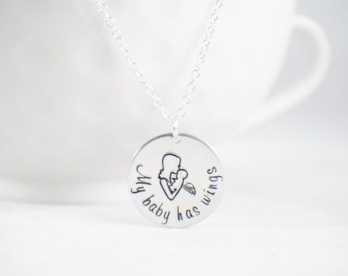 My Baby Has Wings- Angel baby - memorial necklace - miscarriage necklace - loss of baby  Miscarriage memorial - baby memorial