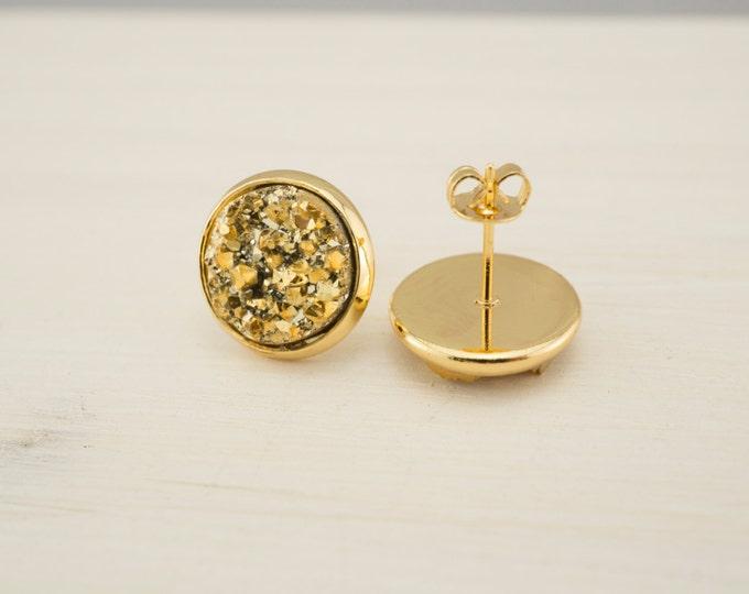 Gold Druzy Earrings - Sunshine Druzy Earrings - Matte Gold Druzy Earrings - Druzy Post Earrings - Bridesmaids Gifts - Gold Earrings