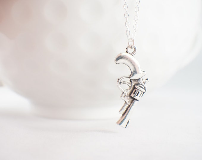 Pistol Necklace - Vintage necklace - old pistol necklace - country girl necklace - western wear - gun jewelry - gun necklace - revolver