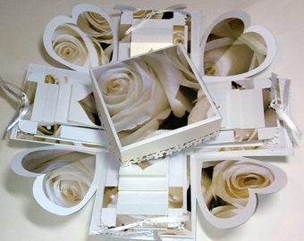 Explosion Box White Roses Wedding 4 Cube Exploding