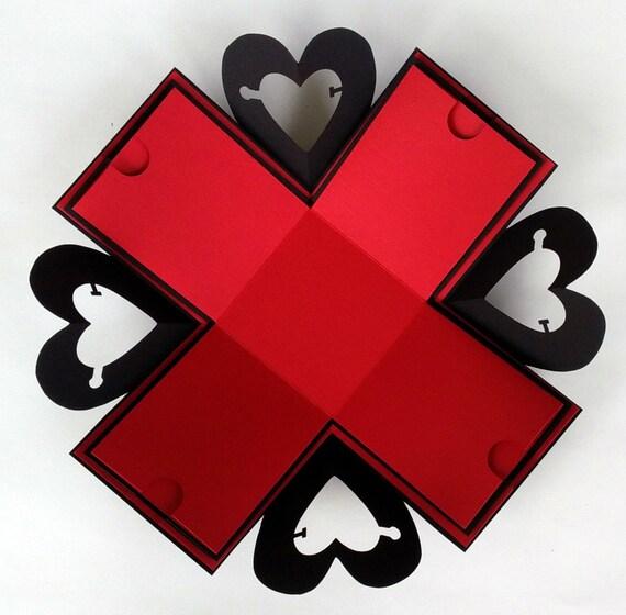 Explosion Box Exploding Box Open Heart Explosion Box Hearts Etsy