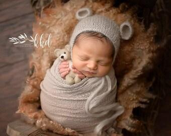 c0cad4c57f4 Newborn Mohair Bear Bonnet   Photo Prop   Baby Bear Hat   Slate Blue    Ivory   Stone Beige   Butterscotch   Oatmeal