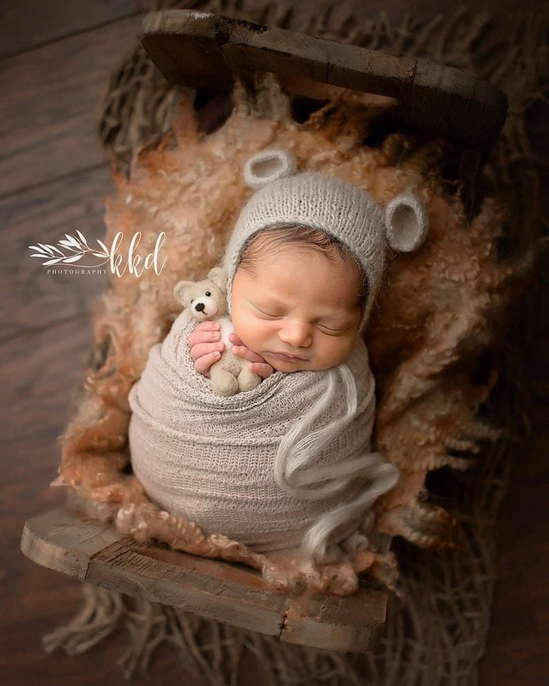 Baby Mohair knitting Bonnet Hat Newborn Photo Photography Prop Cap Outfit K Kd