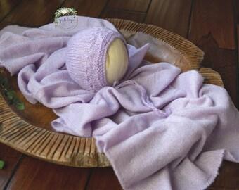 Newborn Knit Wrap & Bonnet Set * Wisteria *  Lilac * Photo Prop * Newborn Stretchy  Layer/Wrap  * Newborn Bonnet *