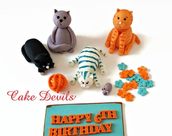 Fondant Cats, Cat Cake Toppers, yarn, mouse, birthday cake, Cat Cake Decorations, handmade edible, cake topper Cat Birthday Party Supplies
