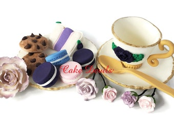 Fondant Tea Party Cake Toppers, Tea Cup and Saucer, Roses, Bridal Shower Cake Decorations, Macarons, Cake, Cookies, Spoon, plate, Goodies