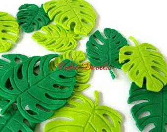 Fondant Palm Leaf Cake Toppers, Handmade edible Fondant Monstrea Leaves Cake Decorations, Wild One Birthday, Baby Shower, Jungle Safari
