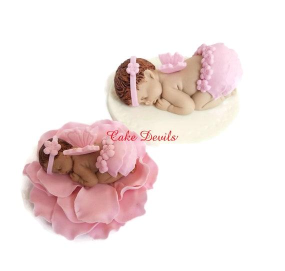 """12 large sleeping plastic babies in pink 2.5/"""""""