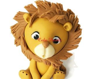 Fondant Lion Cake Topper, King of the Jungle Birthday Party Cake, Safari Cake Decorations , Baby Shower animals, Cute Lion, Baby Lion