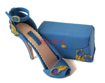 Fondant Peacock High Heel Cake Topper with matching Clutch Purse, Fondant Feather Stiletto and handbag, Handmade Gumpaste for Fashion lover