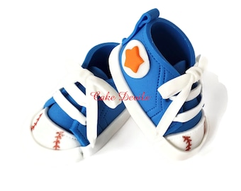 Fondant Baseball Sneakers, Baby Shower Cake Toppers, Handmade Sugar Cake Decorations, Sports Baby Shoes, Tennis Shoes, Kicks