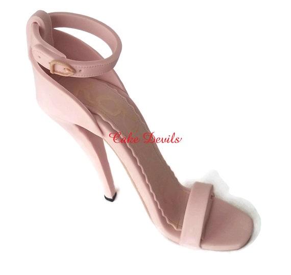 f992400cb6594 High Heel Shoe Cake Topper, Fondant Stiletto Sandal, Handmade ...