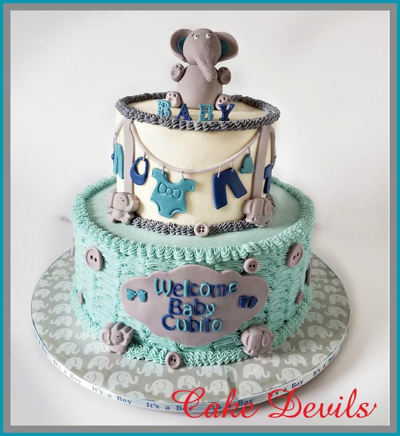 b7e785bf9caad5 Elephant Baby Shower Cake Decorations Baby Elephant Cake