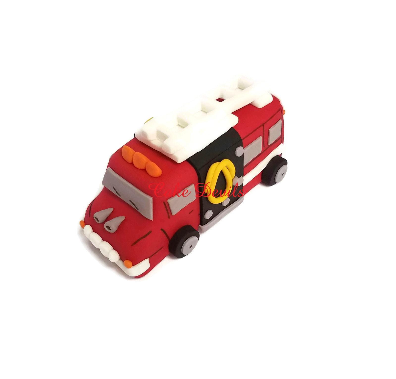Fire Truck Cake Topper Fondant Handmade Edible Firetruck ...