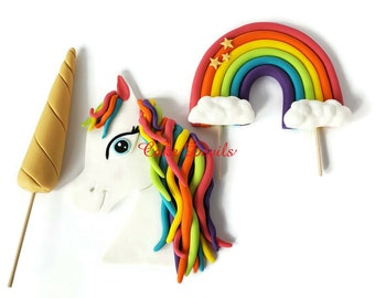 Fondant Unicorn Head with Rainbow Hair, Gold Horn, and Rainbow with Clouds Cake Toppers, Handmade Cake Decorations
