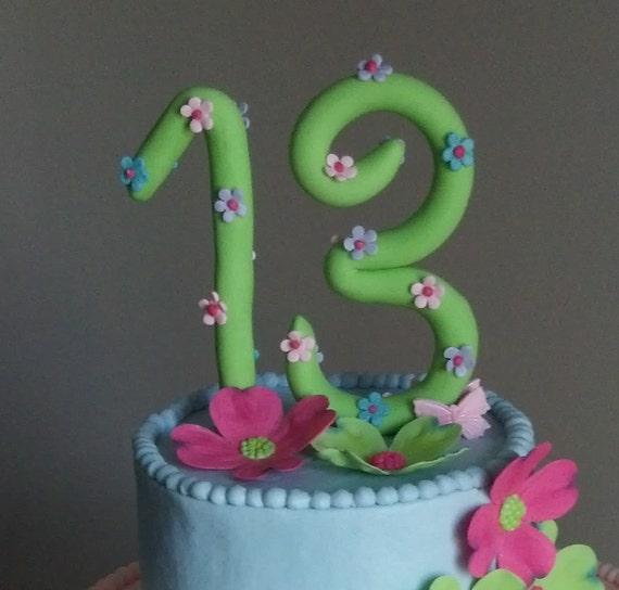 Enjoyable Handmade Fondant Number Cake Topper Birthday Cake Decorations Personalised Birthday Cards Epsylily Jamesorg