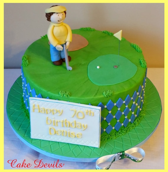Pleasing Fondant Golf Cake Topper Kit Golf Cake Decorations Fondant Etsy Funny Birthday Cards Online Sheoxdamsfinfo