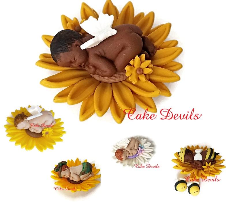 959509da659 Sleeping Baby Sunflower Cake Topper Fondant Bee Sunflower