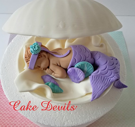 Mermaid In A Clam Shell Baby Shower Cake Topper Fondant Clam Etsy