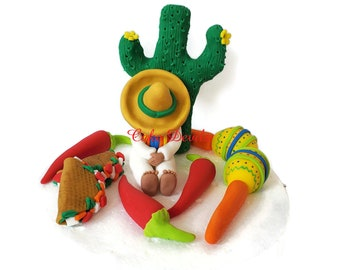 Mexican Fiesta Cake Toppers, Fondant Mexican Man, Sarape, Sombero hat Cake Decorations, Cinco de Mayo Celebration, Fi