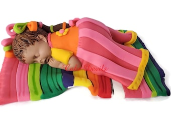 Fondant Mexican Doll Cake Topper, Sleeping Baby Girl Cake Topper on Sarape, Mexican Blanket, Fondant Maria Doll, Fiesta Baby Shower