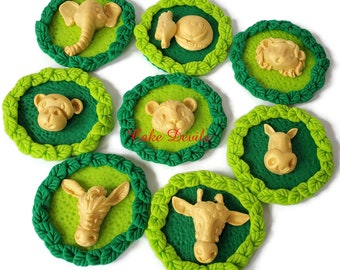 Fondant Gold Jungle Safari Animal Faces on Leaf Wreaths Cupcake Toppers, Lion, Elephant, Tiger, Giraffe, Wild One Birthday, Baby Shower