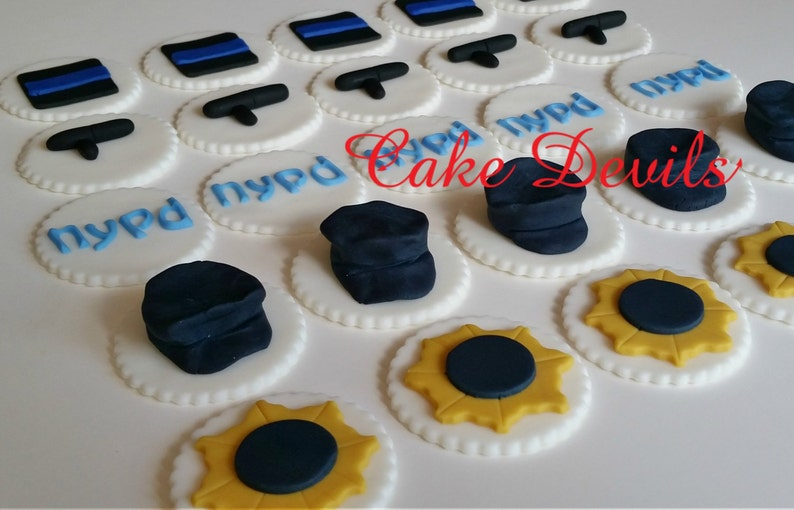 Police Officer Fondant Cupcake Toppers Decorations Police Etsy