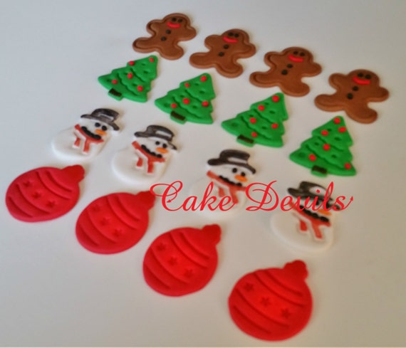 Christmas Cake Decorations.Christmas Cake Toppers Fondant Snowman Gingerbread Man Cake Christmas Tree Christmas Ornaments Holiday Cake Decorations Cupcake Toppers