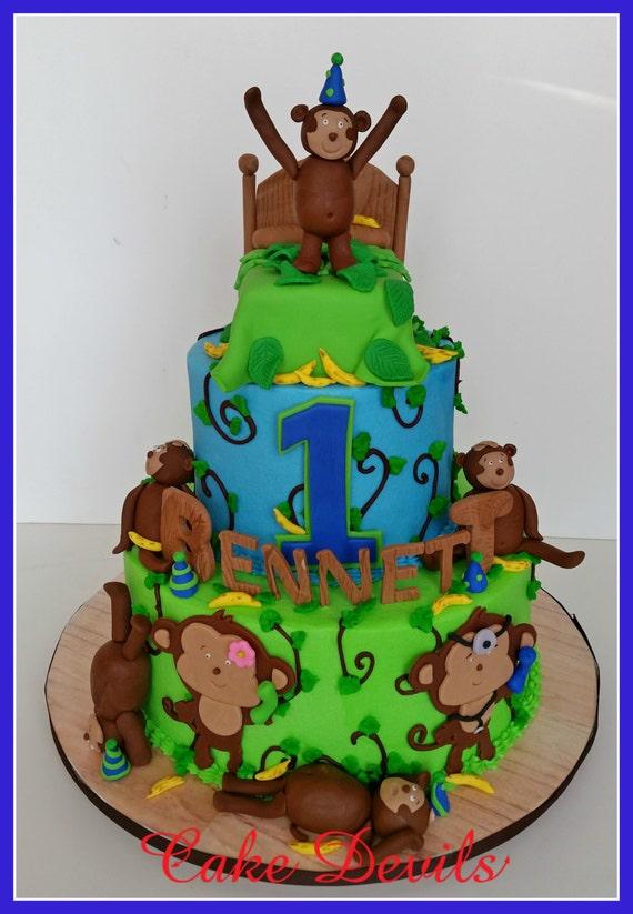 Edible Baby Boy Monkey Birthday Baby Shower Christening Cake Topper