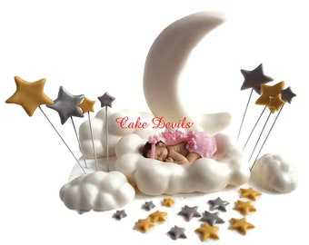 Fondant  Moon, Stars, and Clouds with Sleeping Baby Shower Cake Decorations, Twinkle, Twinkle Little Star Cake Topper, Baby on Cloud