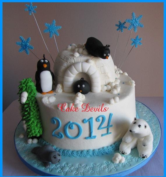 Winter Animal Fondant Cake Topper Kit Penguin Polar Bear