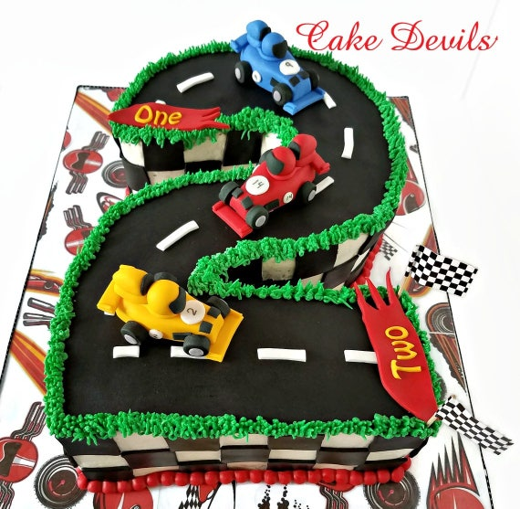Mini Race Car Fondant Cake Toppers Handmade Edible Sports Car Cake