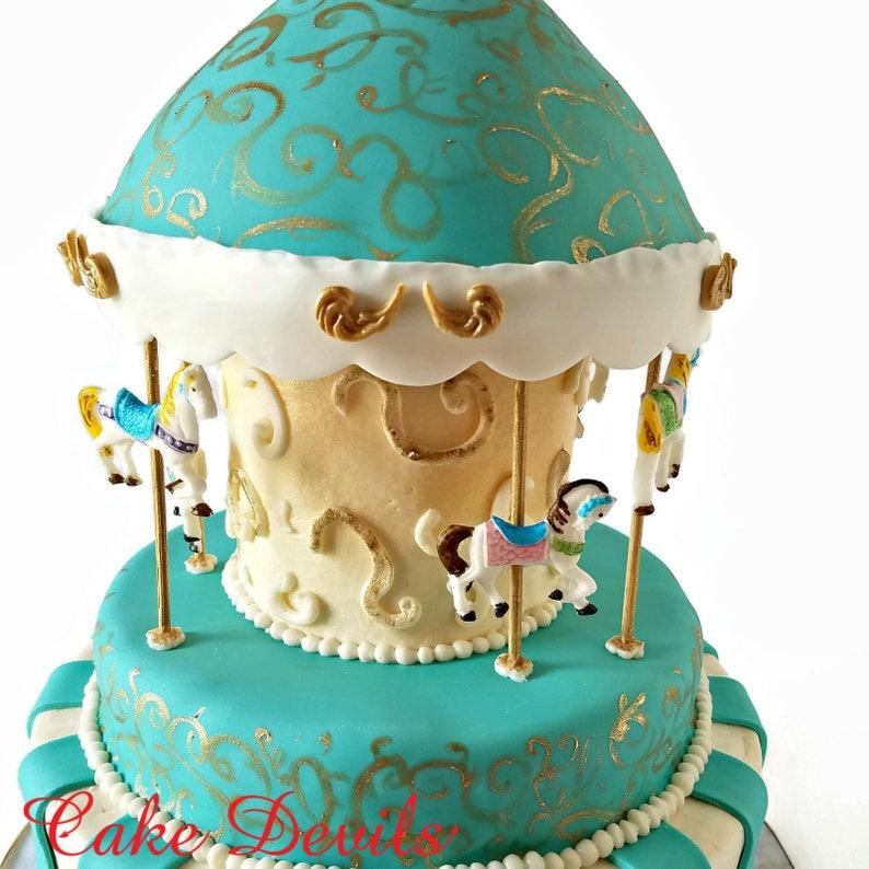 dcf00506fa529f Fondant Carousel Horse Cupcake Toppers carousel horse cake