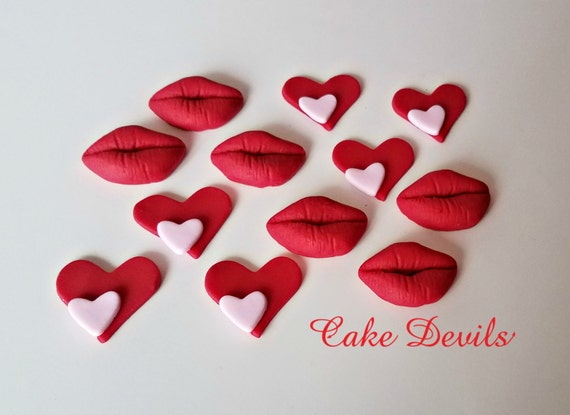 Heart Lips Cupcake Toppers Edible Valentine S Day Cake