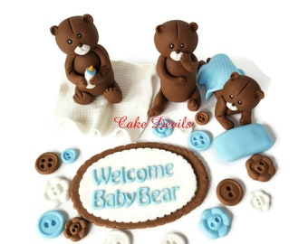 Fondant Teddy Bear Cake Toppers, Fondant Bears, Buttons and Plaque Cake Decorations, Bottle, Pillow, Blanket, perfect for a Baby Shower Cake