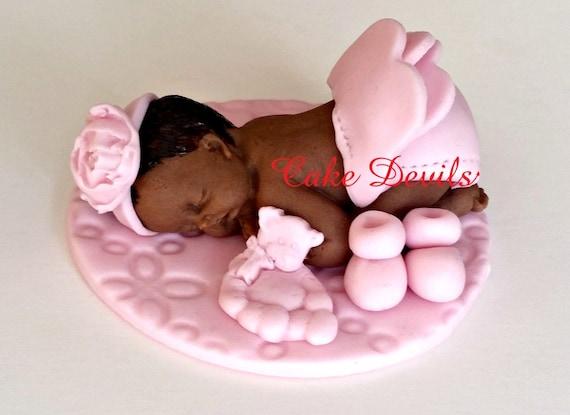Baby Girl Fondant Sleeping Baby Baby Shower Cake Topper Pink