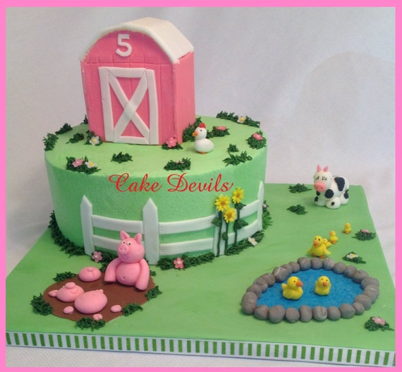 Barn Animal Fondant Cake Topper Kit Farm Decorations