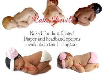 Naked Sleeping Baby Fondant Cake Topper, Handmade Edible Baby Shower Cake Topper, Christening Baby Cake Topper, Baptism Edible Baby Cake