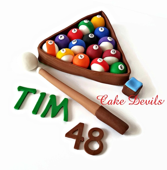 Pool Table Cake Topper Billiards Cake Decorations Fondant Pool Unique Pool Ball Decorations