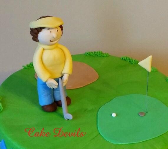 Fondant Golf Cake Topper Kit Golf Cake Decorations Fondant Etsy Awesome Mini Disco Ball Cake Decoration
